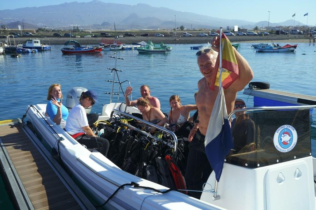 Boot Tauchen vom Hafen Las Galletas